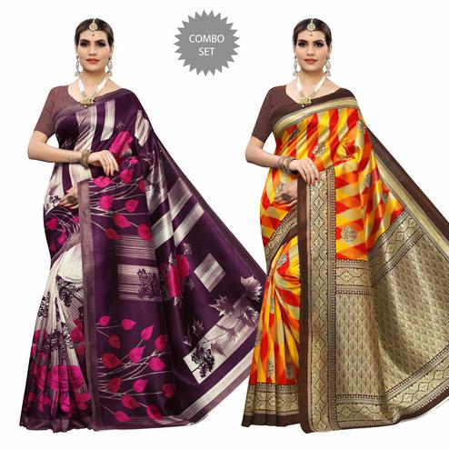 Intricate Casual Wear Printed Art Silk Saree - Pack of 2