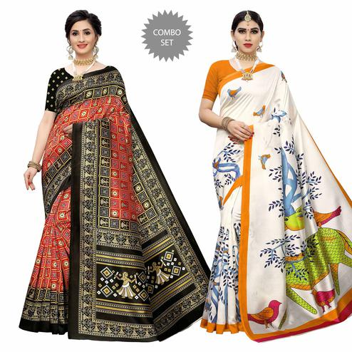 Desirable Casual Wear Printed Art Silk Saree - Pack of 2