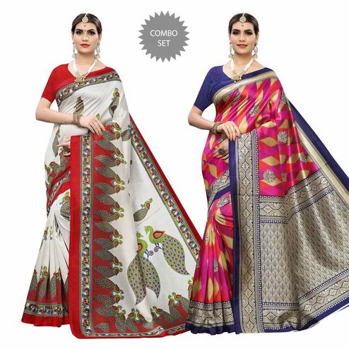 Sophisticated Casual Wear Printed Art Silk Saree - Pack of 2