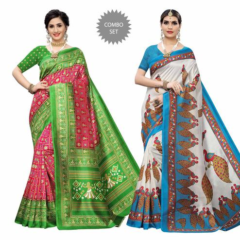 Radiant Casual Wear Printed Art Silk Saree - Pack of 2