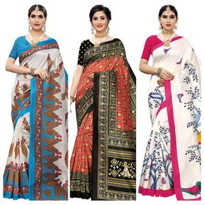 Refreshing Casual Wear Printed Art Silk Saree - Pack of 3