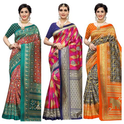 Marvellous Casual Wear Printed Art Silk Saree - Pack of 3