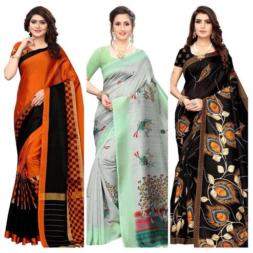 Magnetic Festive Wear Printed Saree With Tassels - Pack of 3