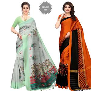 Hypnotic Festive Wear Printed Saree With Tassels - Pack of 2