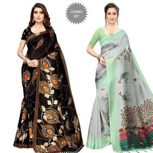 Flattering Festive Wear Printed Saree With Tassels - Pack of 2