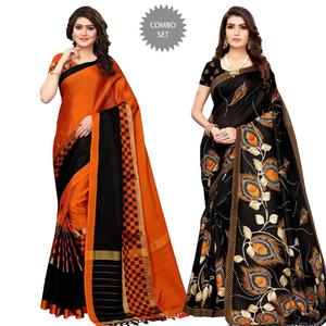 Excellent Festive Wear Printed Saree With Tassels - Pack of 2