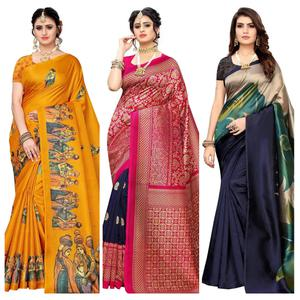 Alluring Festive & Casual Printed Saree - Pack Of 3