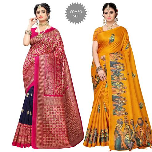 Sensational Festive Wear Printed Saree - Pack Of 2