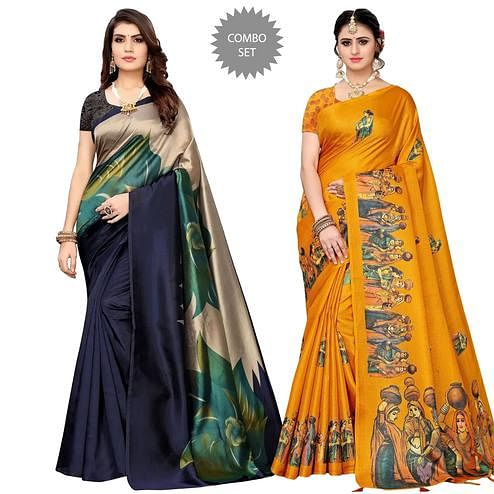 Stunning Festive & Casual Printed Saree - Pack Of 2