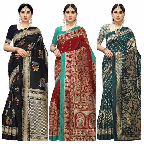 Engrossing Casual Wear Printed Art Silk Saree-Pack Of 3