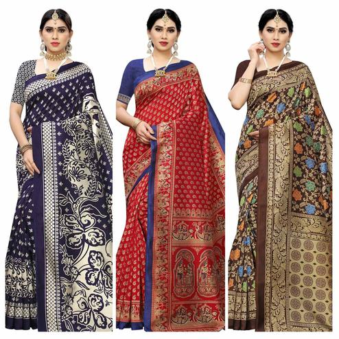 Amazing Casual Wear Printed Art Silk Saree-Pack Of 3