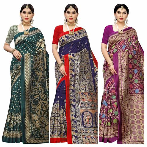 Ideal Casual Wear Printed Art Silk Saree-Pack Of 3