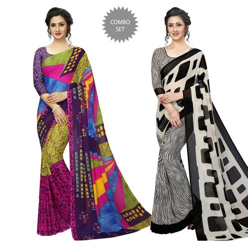 Glorious Casual Printed Georgette Saree - Pack Of 2