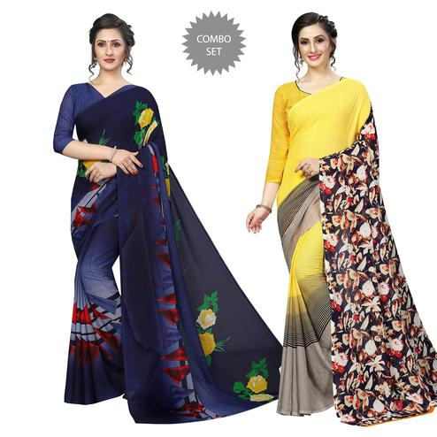 Appealing Casual Printed Georgette Saree - Pack Of 2