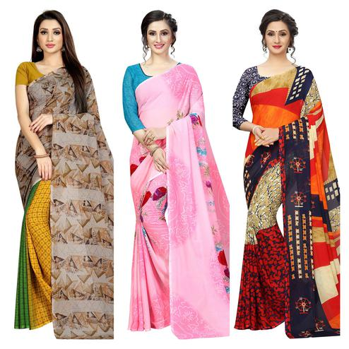 Blooming Casual Printed Georgette Saree - Pack Of 3