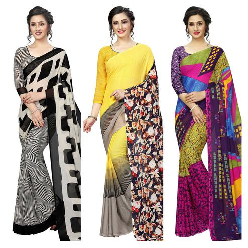 Charming Casual Printed Georgette Saree - Pack Of 3