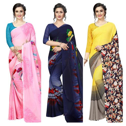 Jazzy Casual Printed Georgette Saree - Pack Of 3