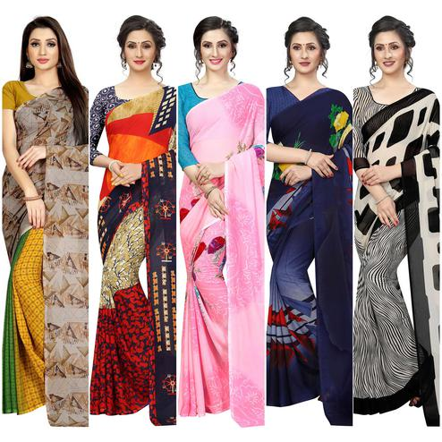 Engrossing Casual Printed Georgette Saree - Pack Of 5