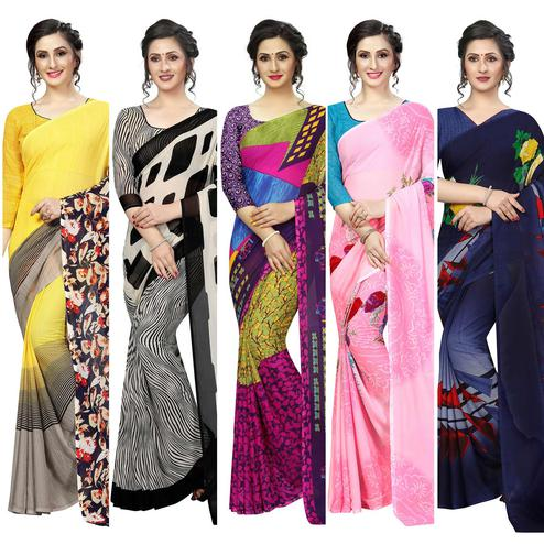 Captivating Casual Printed Georgette Saree - Pack Of 5