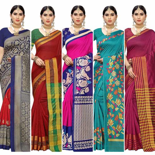 Captivating Casual Printed Art Silk-Cotton Silk Saree - Pack Of 5