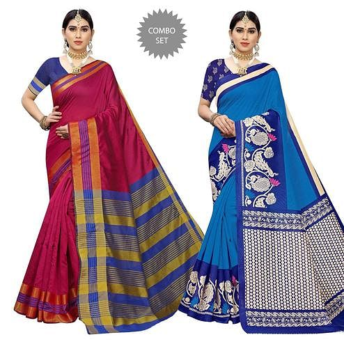 Fantastic Casual Printed Cotton Silk-Art Silk Saree - Pack Of 2
