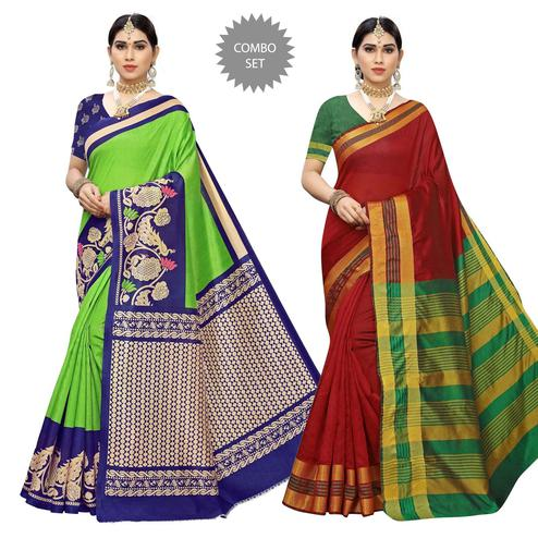 Amazing Casual Printed Art Silk-Cotton Silk Saree - Pack Of 2