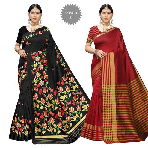Imposing Casual Printed Art Silk-Cotton Silk Saree - Pack Of 2