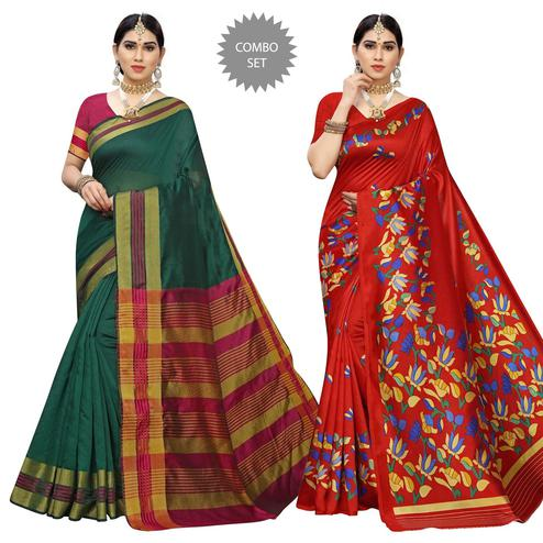 Majesty Casual Printed Cotton Silk-Art Silk Saree - Pack Of 2
