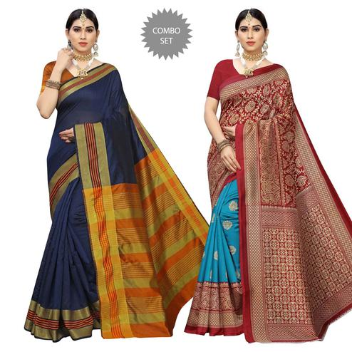 Impressive Casual Printed Cotton Silk-Art Silk Saree - Pack Of 2