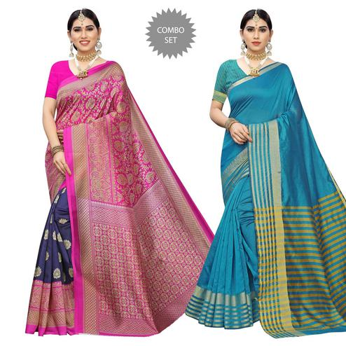 Mesmerising Casual Printed Art Silk-Cotton Silk Saree - Pack Of 2