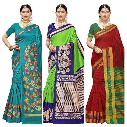 Ethnic Casual Printed Art Silk-Cotton Silk Saree - Pack Of 3