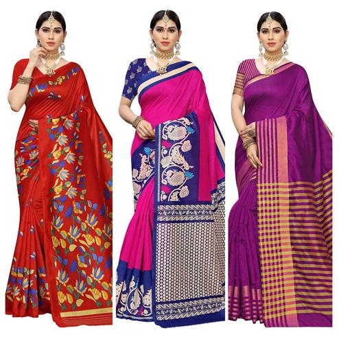 Staring Casual Printed Art Silk-Cotton Silk Saree - Pack Of 3
