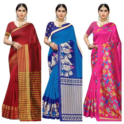 Dazzling Casual Printed Cotton Silk-Art Silk Saree - Pack Of 3