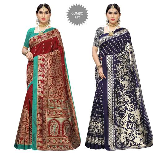 Lovely Printed Casual Wear Art Silk Saree-Pack Of 2