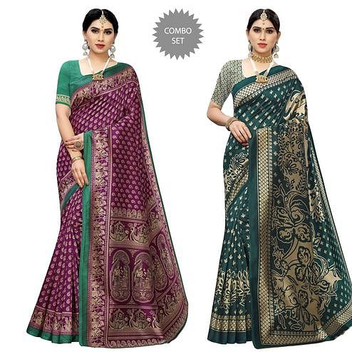Dazzling Printed Casual Wear Art Silk Saree-Pack Of 2