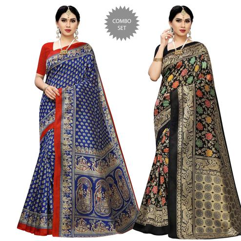 Radiant Printed Casual Wear Art Silk Saree-Pack Of 2