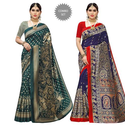 Opulent Printed Casual Wear Art Silk Saree-Pack Of 2