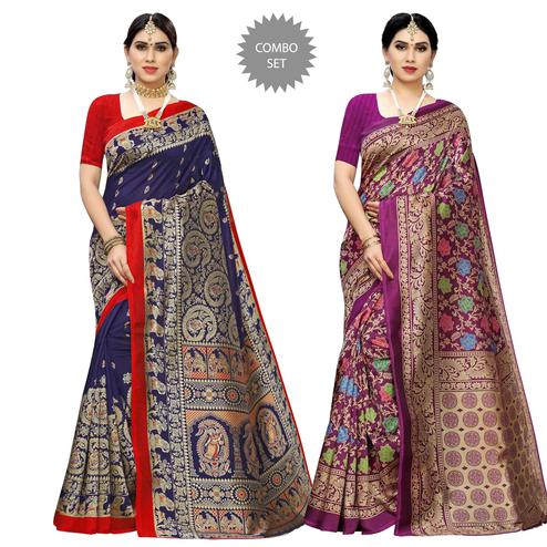 Energetic Printed Casual Wear Art Silk Saree-Pack Of 2