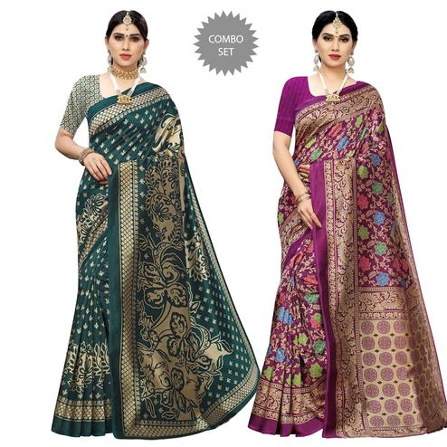 Glowing Printed Casual Wear Art Silk Saree-Pack Of 2