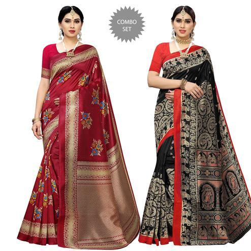 Exceptional Printed Casual Wear Art Silk Saree-Pack Of 2