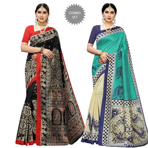Gleaming Printed Casual Wear Art Silk Saree-Pack Of 2