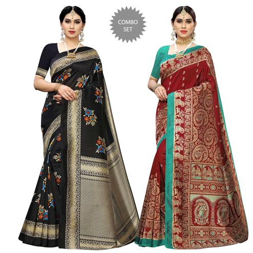 Marvellous Printed Casual Wear Art Silk Saree-Pack Of 2