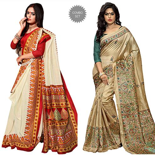 Off White - Beige Printed Saree Combo