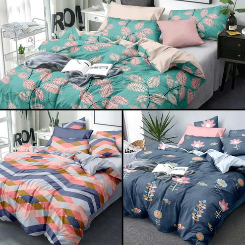 Prominent Printed Queen Sized Bedsheet With Cushion Cover - Pack of 3