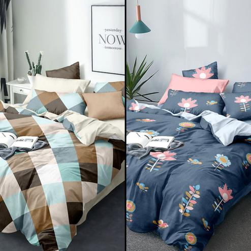 Capricious Printed Queen Sized Bedsheet With Cushion Cover - Pack of 2
