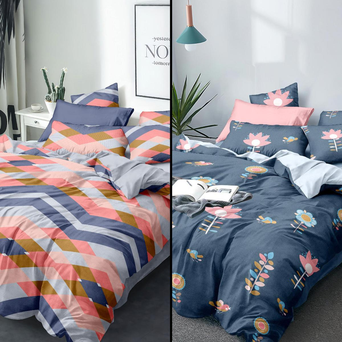 Arresting Printed Queen Sized Bedsheet With Cushion Cover - Pack of 2