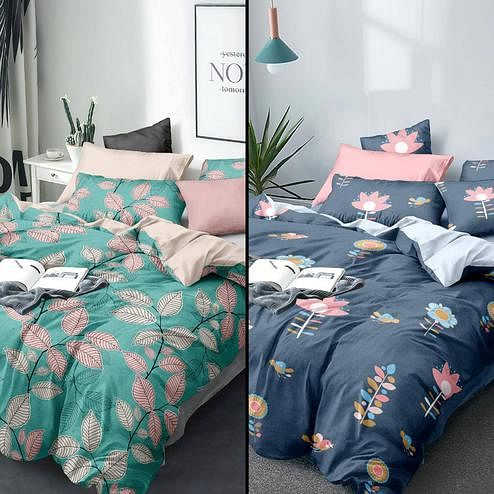 Desirable Printed Queen Sized Bedsheet With Cushion Cover - Pack of 2