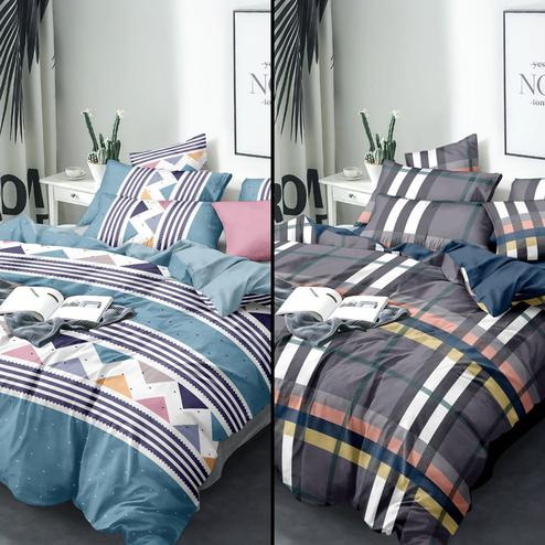 Excellent Printed Queen Sized Bedsheet With Cushion Cover - Pack of 2