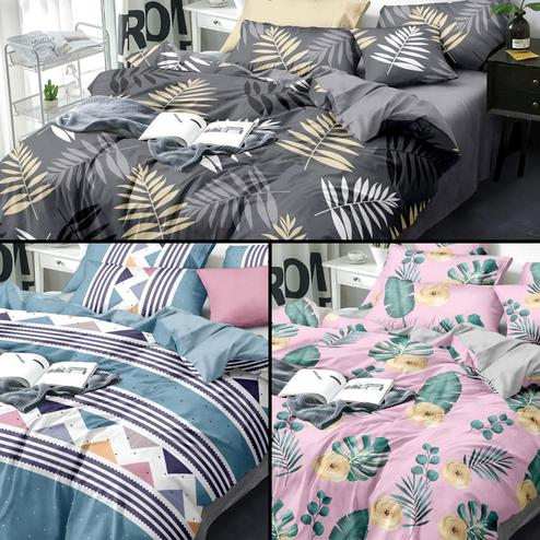 Preferable Printed Queen Sized Bedsheet With Cushion Cover - Pack of 3