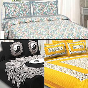 Sophisticated Printed Cotton Double Bedsheet With Cushion Cover - Pack Of 3
